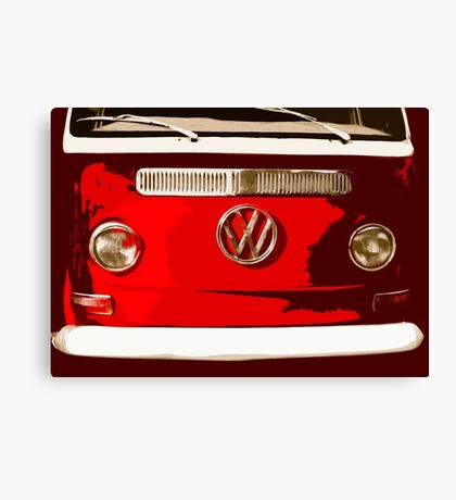 Volkswagen combi Illustration red version Canvas Print