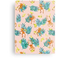 Tropical Monkey Banana Bonanza on Blush Pink Metal Print
