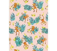 Tropical Monkey Banana Bonanza on Blush Pink Photographic Print
