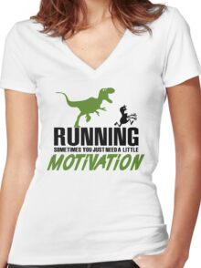 Running - sometimes all you need is a little motivation Women's Fitted V-Neck T-Shirt