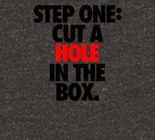 STEP ONE: CUT A HOLE IN THE BOX. Unisex T-Shirt
