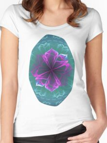 Ornate Blossom in Fuchsia Women's Fitted Scoop T-Shirt