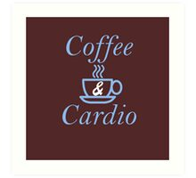 Coffee and Cardio Blue Art Print
