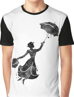 Mary Poppins Silhouette Watercolor Black Graphic T-Shirt