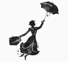 Mary Poppins Silhouette Watercolor Black Kids Tee