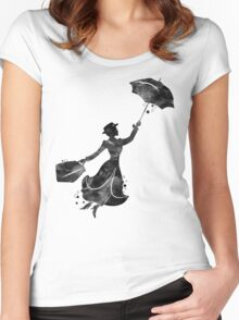 Mary Poppins Silhouette Watercolor Black Women's Fitted Scoop T-Shirt