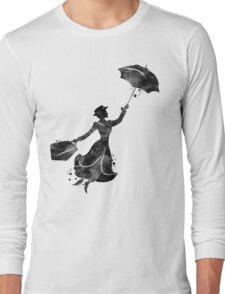 Mary Poppins Silhouette Watercolor Black Long Sleeve T-Shirt