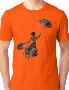 Mary Poppins Silhouette Watercolor Black Unisex T-Shirt