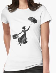 Mary Poppins Silhouette Watercolor Black Womens Fitted T-Shirt