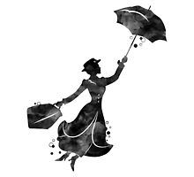 Mary Poppins Silhouette Watercolor Black by bittermoon