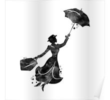 Mary Poppins Silhouette Watercolor Black Poster