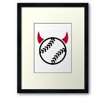 Softball devil Framed Print