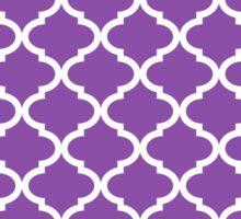 Plum Purple and White Quatrefoil Lattice Pattern Sticker