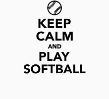 Keep calm and play Softball Womens Fitted T-Shirt