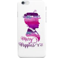 Mary Poppins Portrait Silhouette Watercolor Purple and Pink iPhone Case/Skin