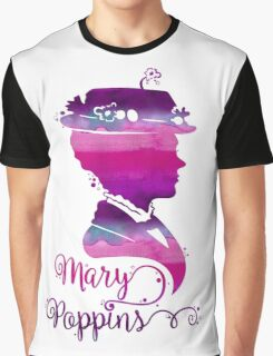 Mary Poppins Portrait Silhouette Watercolor Purple and Pink Graphic T-Shirt