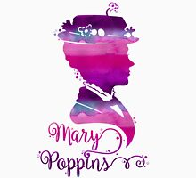 Mary Poppins Portrait Silhouette Watercolor Purple and Pink Womens Fitted T-Shirt