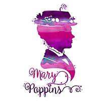 Mary Poppins Portrait Silhouette Watercolor Purple and Pink Photographic Print