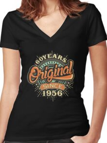 60 Years Original since 1956 - Birthday gift 60th for shirt cups and many more. Choose from more designs made by rahmenlos - from munich germany.  Women's Fitted V-Neck T-Shirt