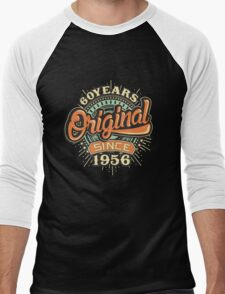 60 Years Original since 1956 - Birthday gift 60th for shirt cups and many more. Choose from more designs made by rahmenlos - from munich germany.  Men's Baseball ¾ T-Shirt