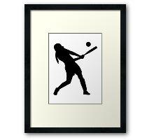 Softball batter Framed Print