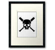 Softball skull Framed Print
