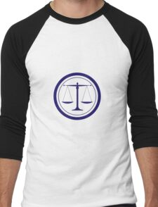 Blue Scales of Justice Silhouette Men's Baseball ¾ T-Shirt