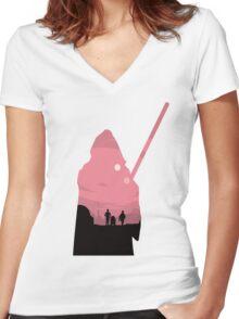 Ben Kenobi Silhouette Women's Fitted V-Neck T-Shirt