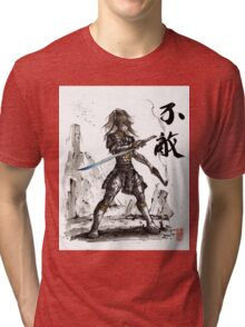 Fallout inspired Samurai Warrior Girl in armor with Sumi Ink Tri-blend T-Shirt