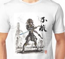 Fallout inspired Samurai Warrior Girl in armor with Sumi Ink Unisex T-Shirt