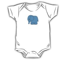 Funny cross-stitch blue elephant One Piece - Short Sleeve