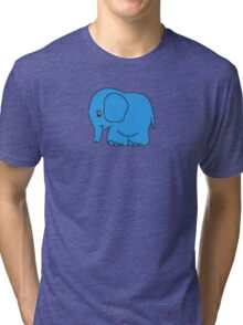Funny cross-stitch blue elephant Tri-blend T-Shirt