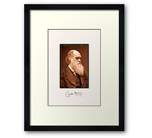 Charles Darwin, autograph, 1874 retouched photo Framed Print