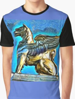 A digital painting of a Gryphon on TheTheodor Costescu Cultural Palace in Romania Graphic T-Shirt