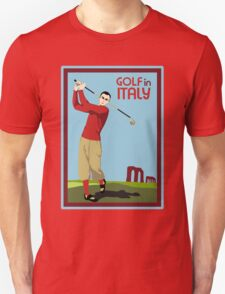 Retro 1920s style Golf in Italy travel ad  T-Shirt