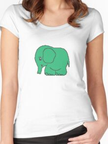 Funny cross-stitch green elephant Women's Fitted Scoop T-Shirt
