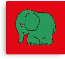 Funny cross-stitch green elephant Canvas Print