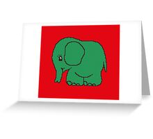 Funny cross-stitch green elephant Greeting Card