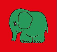 Funny cross-stitch green elephant Photographic Print