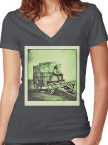 Antique photo Wild West Photographer and his van Women's Fitted V-Neck T-Shirt