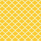 Mustard Yellow White Quatrefoil Pattern by dreamingmind