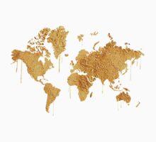 Gold World Map Kids Tee