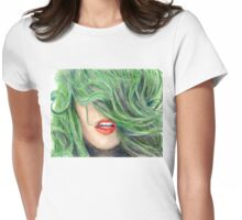 Green Haired Girl  Womens Fitted T-Shirt