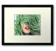 Green Haired Girl  Framed Print
