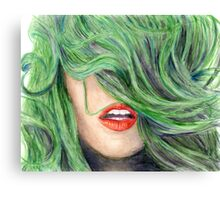 Green Haired Girl  Canvas Print