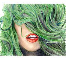 Green Haired Girl  Photographic Print
