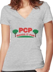 PCP Makes It Fun Leslie Knope Funny Design Women's Fitted V-Neck T-Shirt