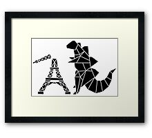 Origami Godzilla taking down Eiffel Tower Framed Print