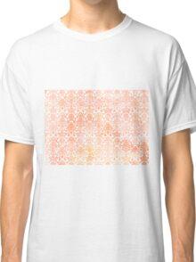Peach White Damask Watercolor Pattern Classic T-Shirt