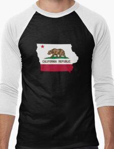 California flag Iowa outline Men's Baseball ¾ T-Shirt